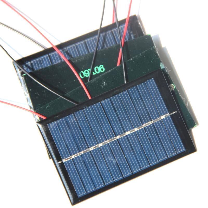BUHESHUI Epóxi Silício Policristalino Painel Solar Pequenos Painéis Solares 0.6 W Com Preto / Vermelho Fio Células Solares w / Cabo 10 pçs / lote Frete Grátis