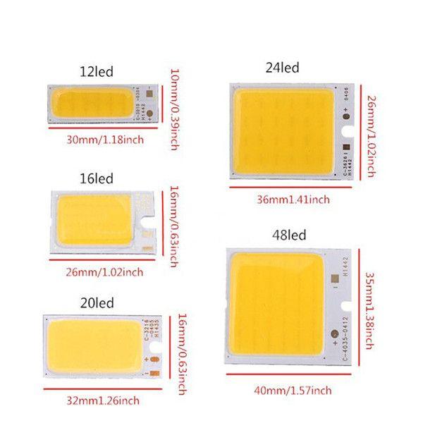 Alta calidad 1.8-6W COB LED Chip Strip Strip Light Light White White Warm Home Bulb para DIY Car Auto Fuente de luz DRL Lámpara DC12V