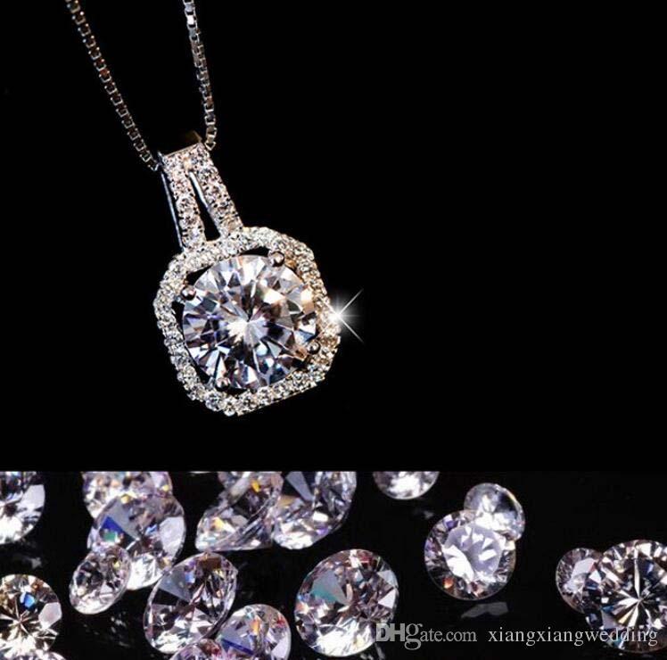 Crystal Four Square colgante de diamantes de circonio Chain of Clavicle Female Necklace Classic Simple accesorios de cadena de caja Novia de bodas decorar