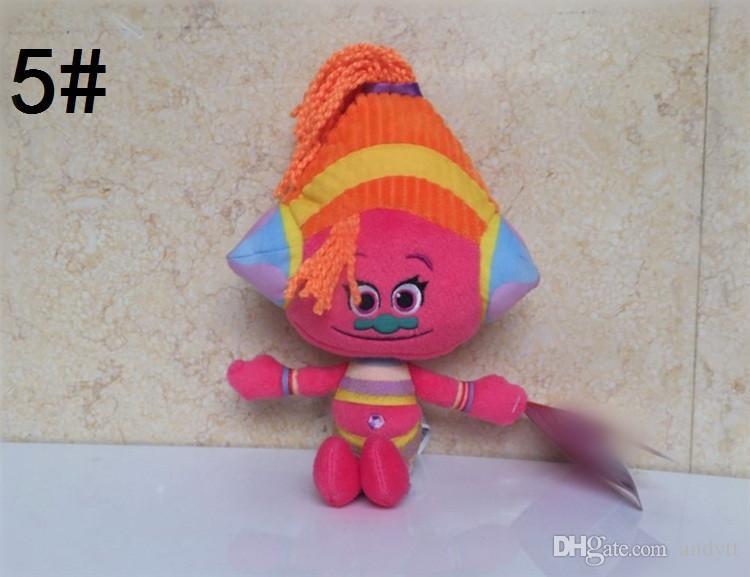 Al por mayor-Nuevos muñecos de dibujos animados 6 Diseños Película Trolls Muñeca de peluche de juguete de dibujos animados de muñecas de los niños regalos A0611