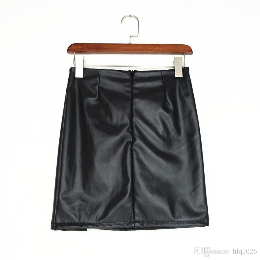 Black Lace Up PU-Lederröcke 2017 Frühling Sommer Womens Side Split Bleistift Röcke Vintage Hohe Taille Bodycon Minirock Freies Verschiffen
