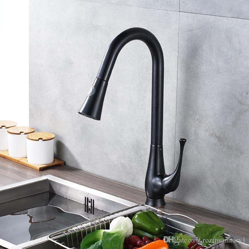 2018 Black Oil Rubbed Bronze Pull Out Kitchen Faucet Deck Mount