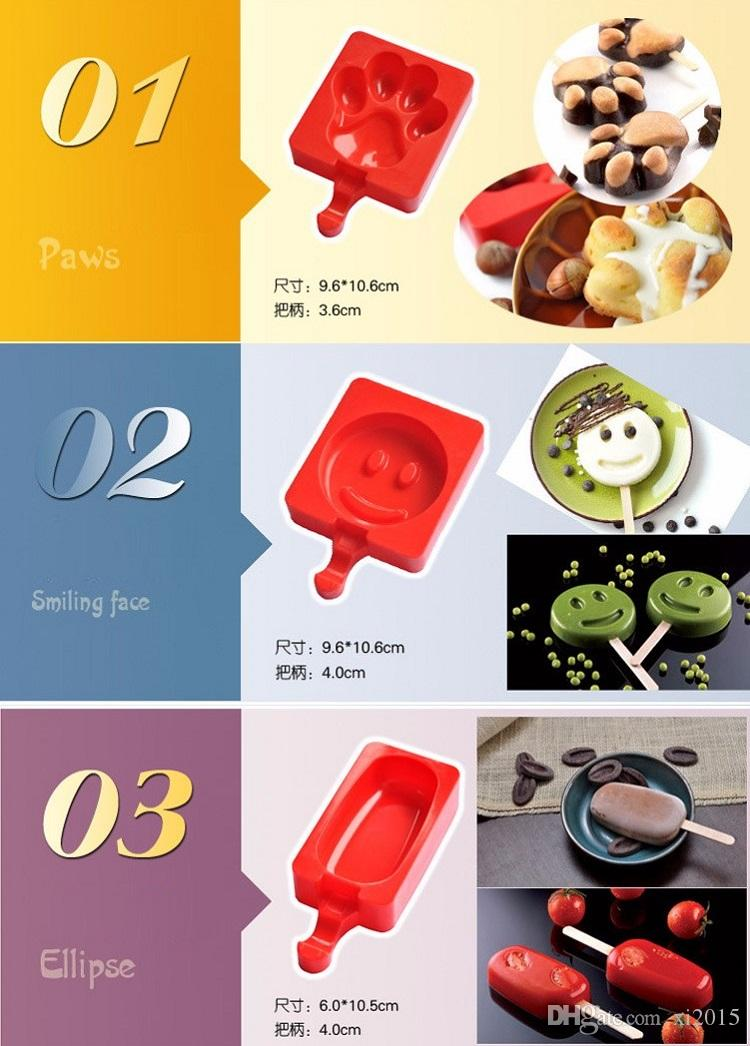 Cartoon DIY Heart Cat Foot Smile Shape Silicone Ice Cream Mold Popsicle Molds Ice Tray Cube Tools Popsicle Maker Holder wa4109
