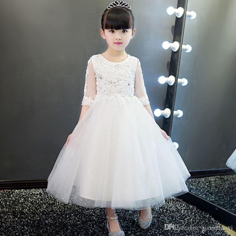 0a919947f7f Elegant White Lace Flower Girl Wedding Dress Sequin Appliques Party Tulle  Princess Birthday Dress Half Sleeve First Communion Gown Girls White Shoes  Ivory ...