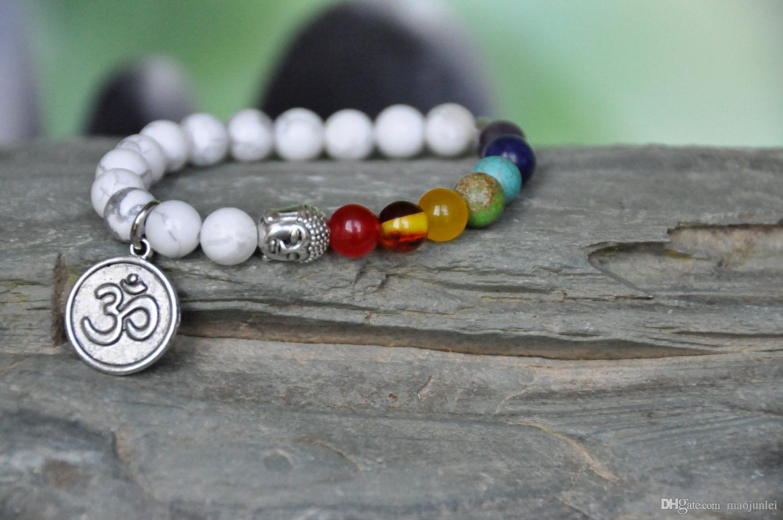 Bracciale Buddha, fiore di loto, pietra preziosa di Howlite, polso mala, bracciale 7 Chakra, yoga OM, preghiera mala