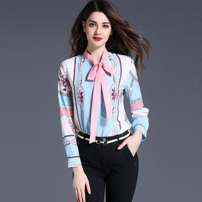 50e9fc72c 2019 Print Work Shirts Slim Vintage Spring Casual OL Style Ladies Blouse  Shirt Long Sleeve Elegant Bow Female Tops From Sinofashion, $24.64    DHgate.Com