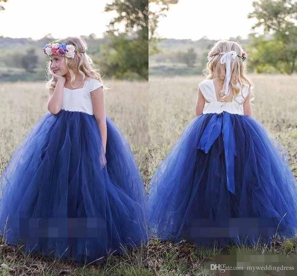 2018 white royal blue flower girls dresses sleeveless tulle 2018 white royal blue flower girls dresses sleeveless tulle spaghetti straps girl pageant gowns ribbon sash first holy communion dresses dresses for girl izmirmasajfo