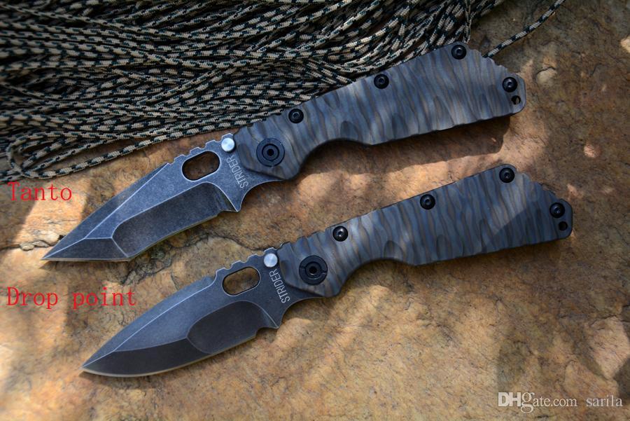 스트라이더 SMF 전술 접이식 칼 Y-START D2 고속 스틸 블랙 TC4 불꽃 질감 핸들 야외 생존 칼을 stonewashed