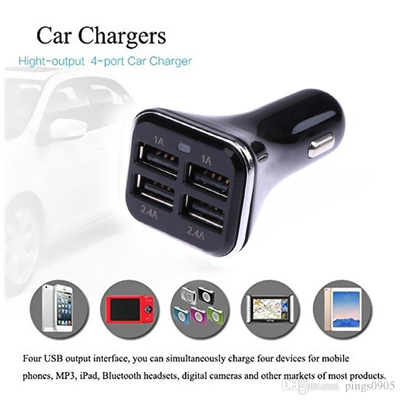 5V 6.8A Universal 4 Ports USB Car-charger Dual USB Car-styling Charging Adapter with LED Light for iPhone Mobile Phone for GoPro