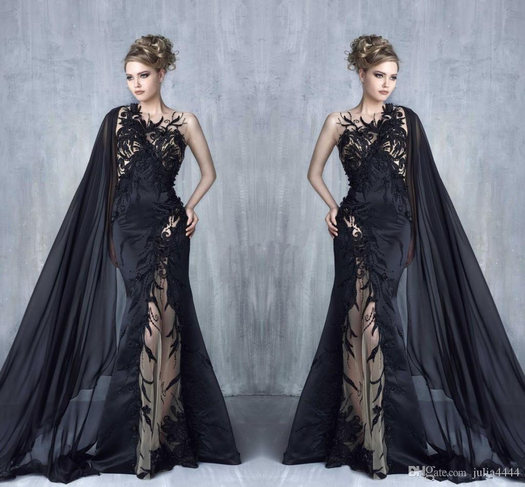 Lace Avec Illusion Tulle Celebrity Soirée 2017 Tony Appliques Bal Chaaya Applique Wear Cape Sirène Formal Beaded Sexy Robes Black De OvnwN0m8