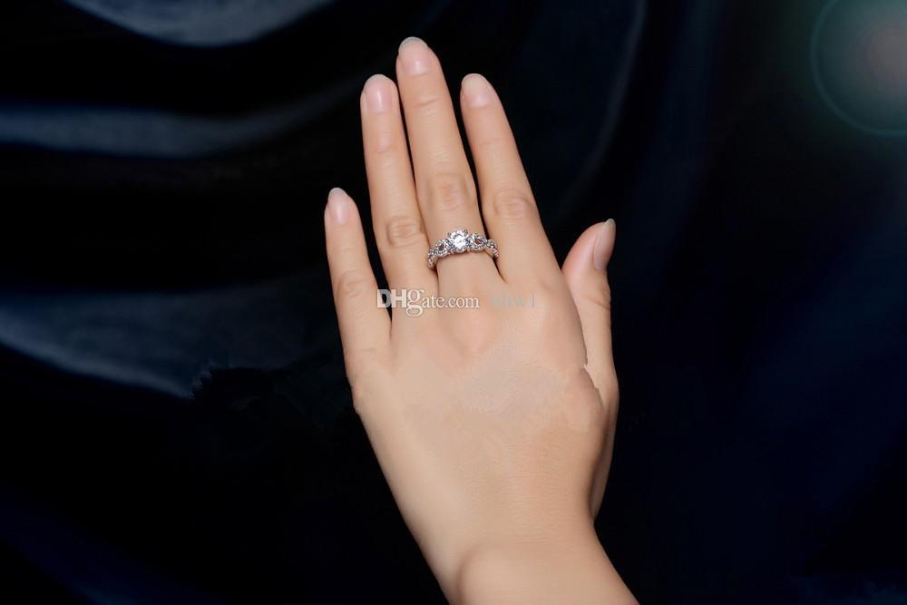 New Round Rhinestone Engagement Zircon Ring White Silver Plated Wedding Jewelry Infinity Sign Rings for Women
