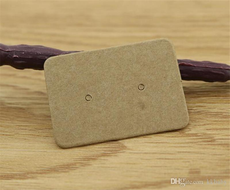 2.5 * 3.5 cm Kraft Papier Stud Boucles D'oreilles Tag Bijoux Affichage Carte Détail Boucle D'oreille Accroche Étiquette Étiquette Crochets Carton Prix Tags