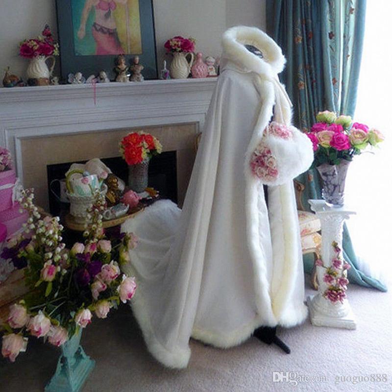 Moda Chegada Faux Fur Casamento Capas Com Capuz Marinha Azul de Pelúcia Casa de Plush Manto Longo Nupcial Casaco Casaco Vestidos De Noiva Acessórios