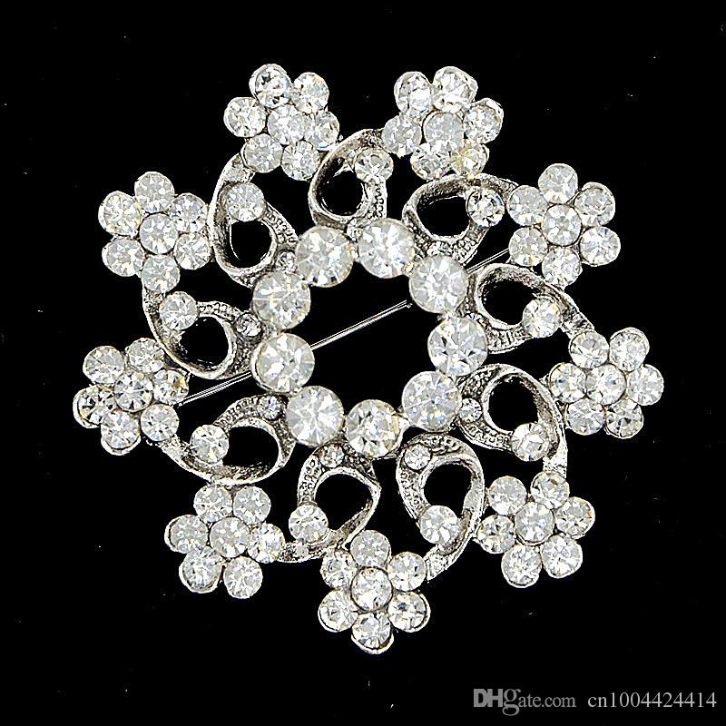 vintage silver rhodium color alloy crystal flower luxury bridal bouquet brooch for wedding elegant women party costume broaches