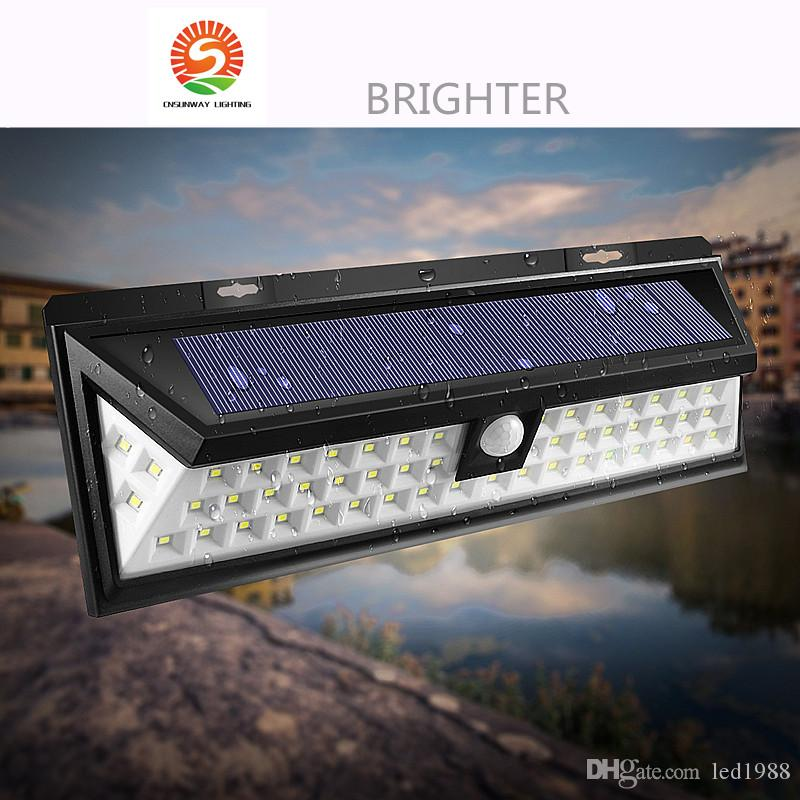 Discount 54 led solar motion sensor light outdoor wall lamp discount 54 led solar motion sensor light outdoor wall lamp waterproof solar powered light with 3 intelligent modes 3 leds both side for garden from china aloadofball Gallery