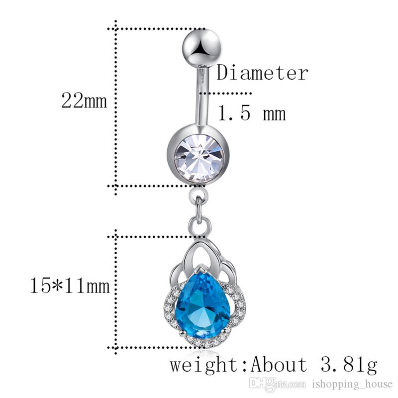 Trendy Zircon Navel Ring Medical Stainless Steel Body Piercing Jewelry Women Sexy Zircon Belly Button Ring with 18K White Gold Plated BR-284