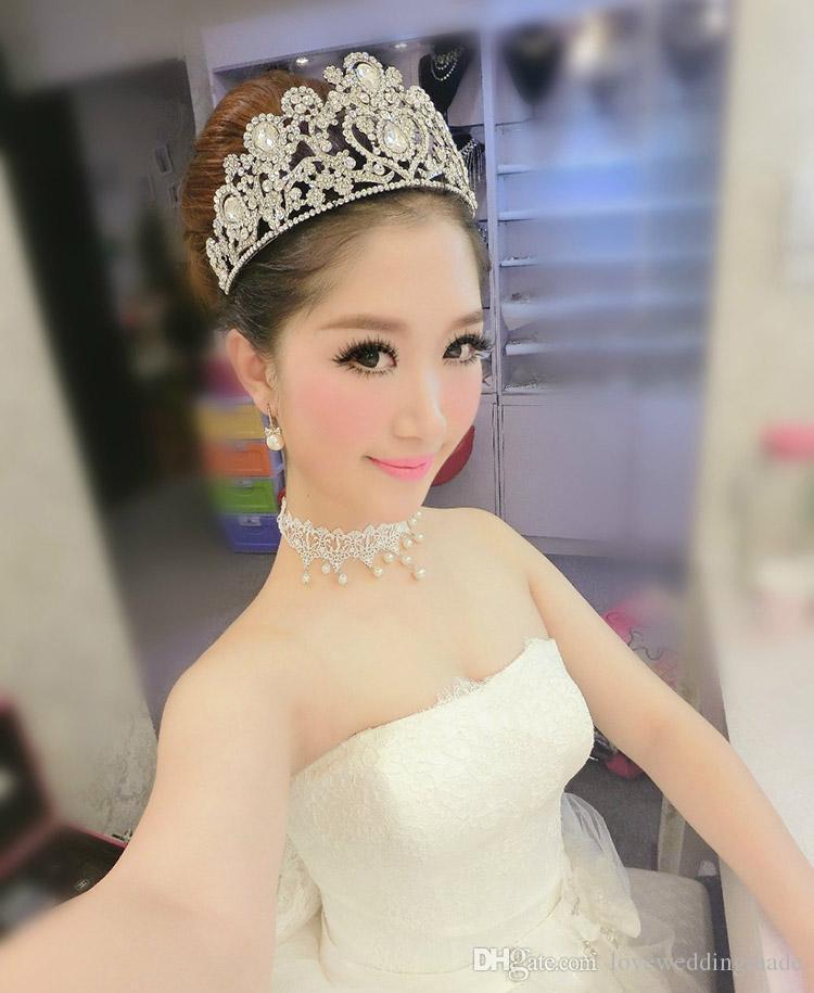 2017 신부 크라운 보석 복숭아 심장 머리 장식 다이아몬드 선발 대회 결혼식 용 액세서리 높은 품질 반짝 블링 블링