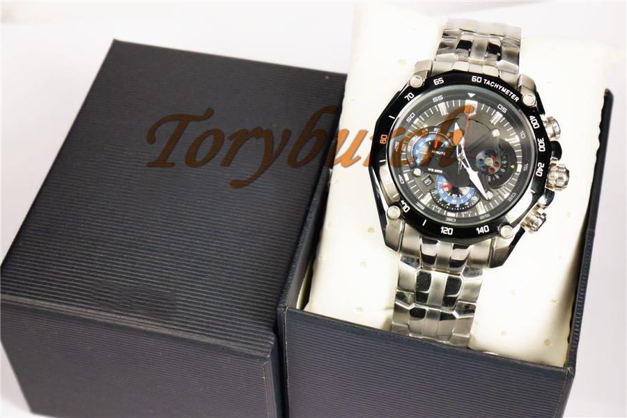 с маятником Новые мужские спортивные часы EF-550RBSP-1AV с черным циферблатом EF-550RBSP-1AV Gent Wristwatch 1/20 секунд секундомер