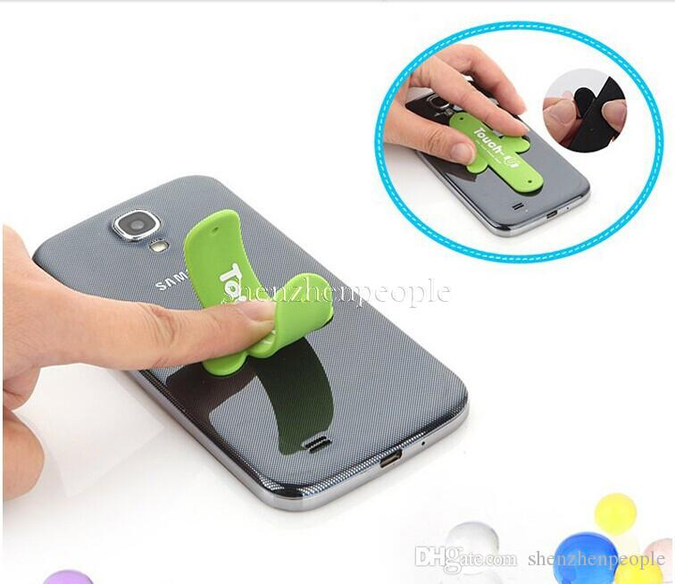 With retail bag Universal Portable Touch U One Touch Silicone Stand Holder Cell Phone Mounts For mobile phone 6s plus smartphone S7