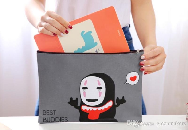 32.5x25cm cute cartoon mask man zipper office hand document bag file folder a4 oxford fabric cloth school file folder