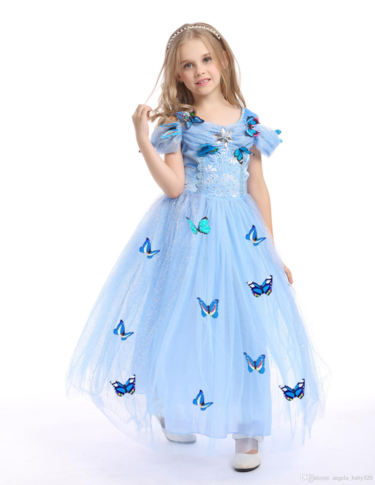 2018 Snowflake Diamond Dress 2018 Fancy Costumes For Kids Blue Gown