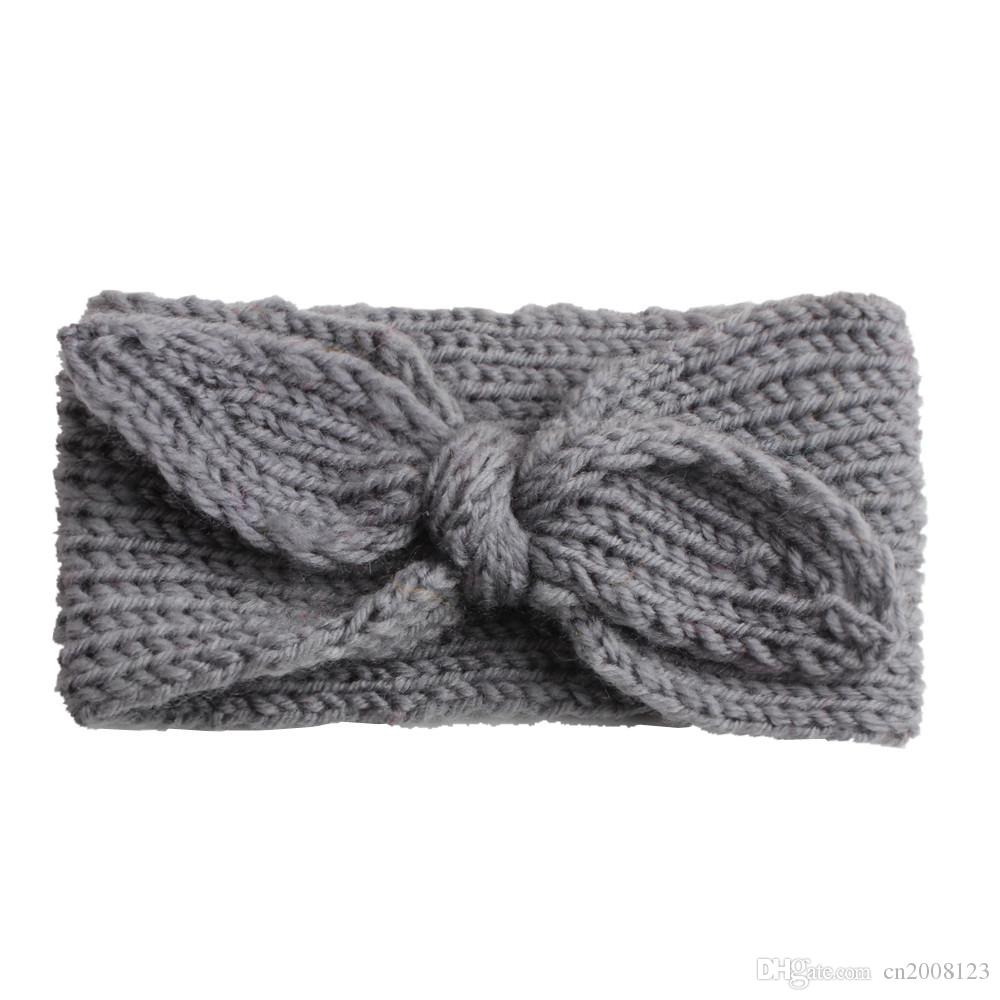 Çok renkli Sıcak Örgü Yün Kış Modelleri Bantlar Bebek Saçbağı Hoop Sevimli Tavşan Kulakları Şapka Headwrap Bebek Turban BM156