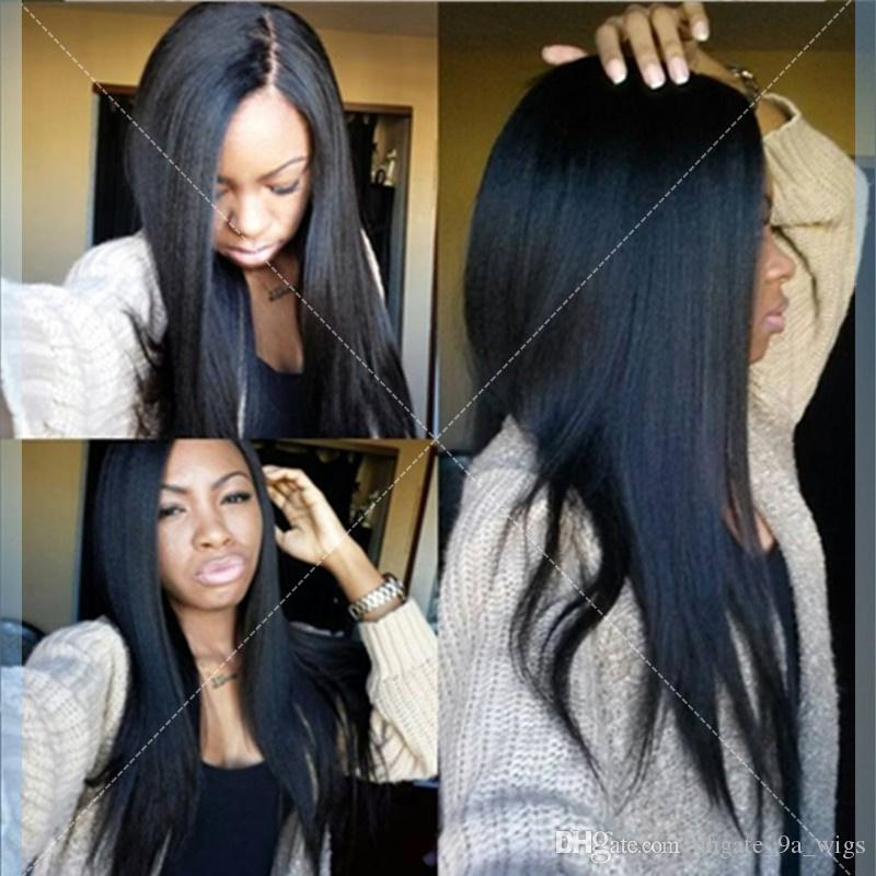 Cheap Italian Yaki Full Lace Wig Brazilian Virgin Hair Yaki Lace Front Wig With Baby Hair Glueless Yaki Full Lace Human Hair Wig