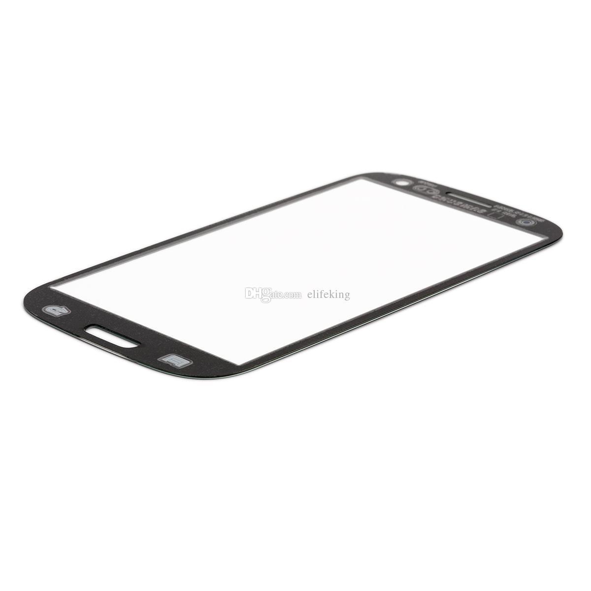 جودة عالية لسامسونج غالاكسي S4 غطاء الجمعية الشاشة الأمامية زجاج عدسة استبدال أجزاء أسود أبيض