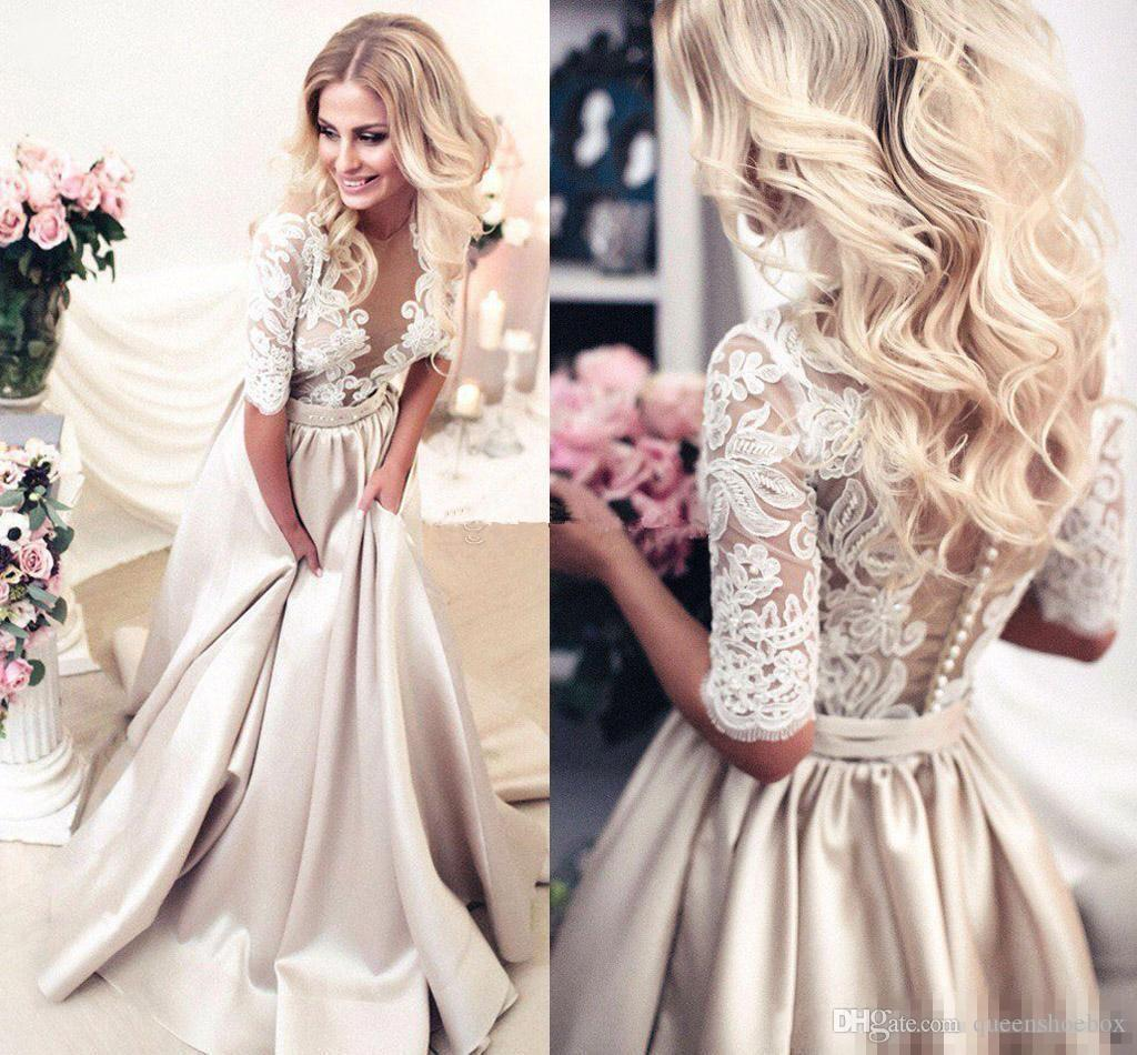 2017 New Arrival A-Line Champagne Wedding Dresses Sheer Neck Half Sleeves Appliques Lace Satin Long Wedding Gowns See Through Bridal Dress