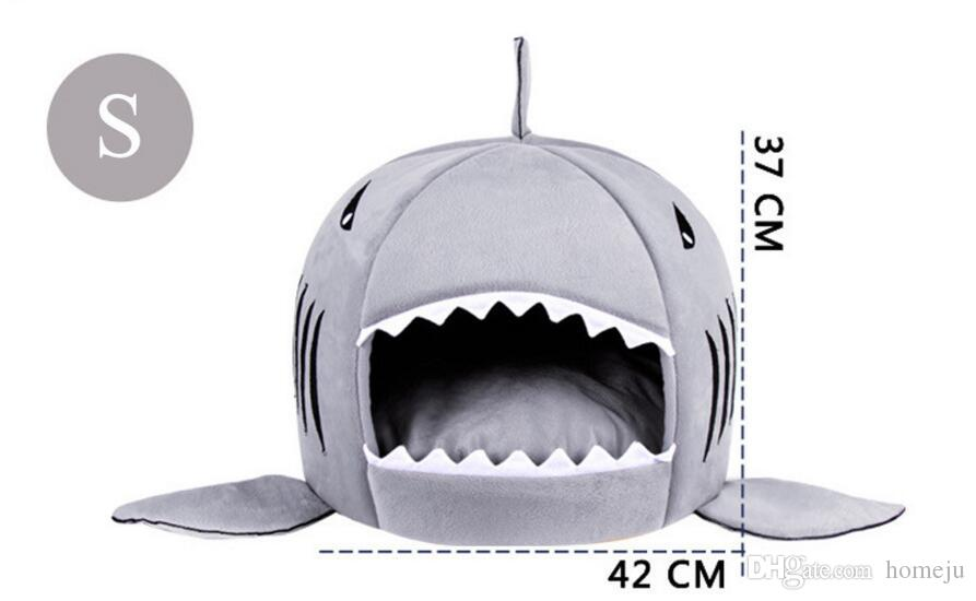 Cartoon Shark Mouse Shape Washable Doghouse Pet Sleeping Bed Novelty Soft Dog Cat Bed Bule/Grey Color With Removable Cushion