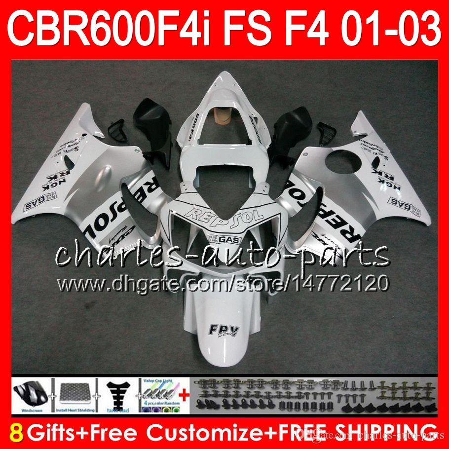 8Gifts For HONDA CBR 600 F4i 01-03 CBR600FS FS 28HM6 Repsol white CBR600 F4i 2001 2002 2003 CBR 600F4i CBR600F4i 01 02 03 Fairing