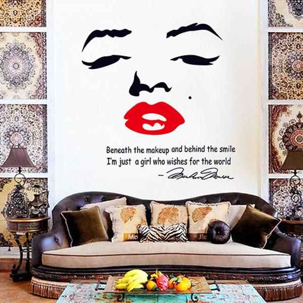 Marilyn Monroe Wallpaper Wall Art Fashion Style Word Pvc Wall Sticker  Material For Bedroom Decoration Waterproof Wall Clings Train Wall Decals  Train Wall ... Part 95