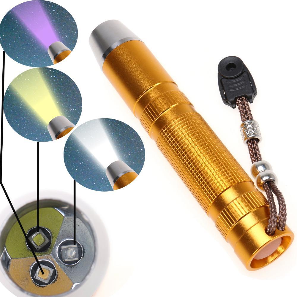 New 3 LED Jade Flashlight UV Yellow light White Light Agate LED Lanterna Lamp Torch