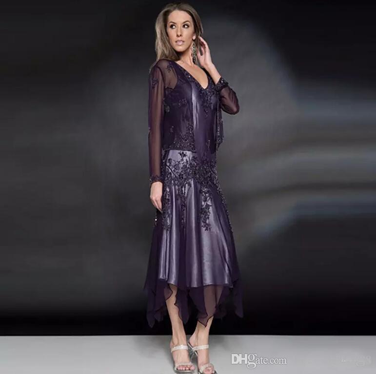 Zarif Şifon Boncuk anne Gelin Elbiseler 2019 Çay Boyu Anneler Düğün Törenlerinde ile Sheer Uzun Kollu Coat