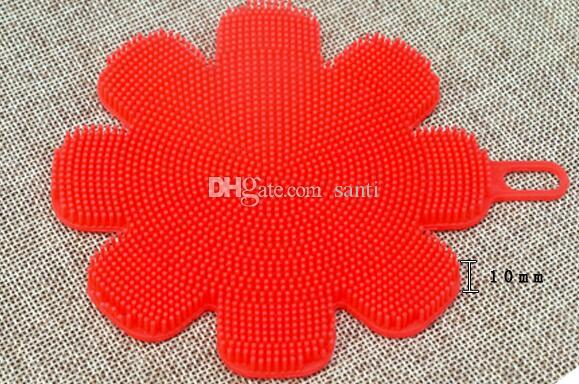 Blumenform Silikon-Abwasch-Schwamm-Bürste Antibakterielle Küchen-Reinigungs-Auflagebürsten