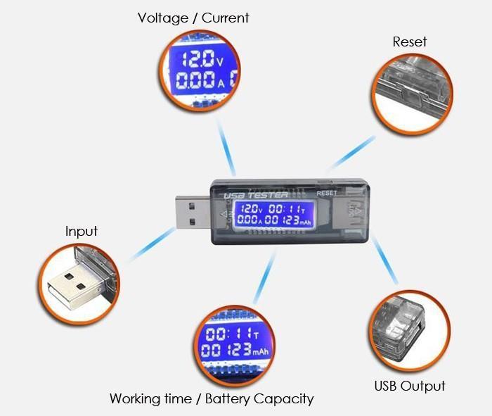 NEW USB Voltage Current Tester Volt Current Doctor Charger Capacity Tester Power Bank Meter KEWEISI KWS-V21 Test Ammeter Voltmeter Detector