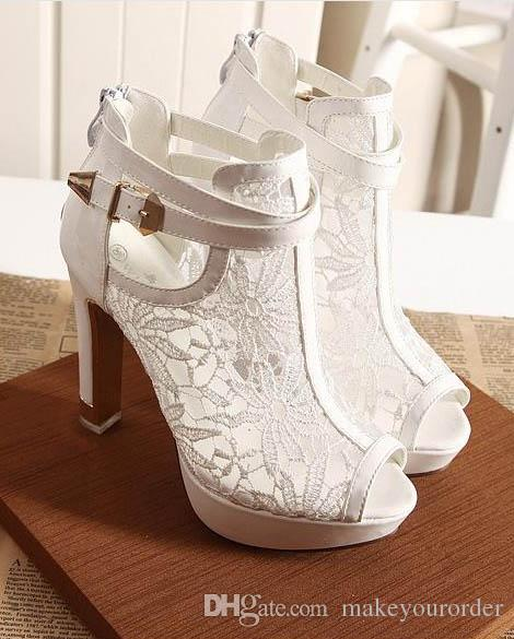 black and white color fashion lace water proof platform high heel sexy fish mouth horsehair women shoe 07