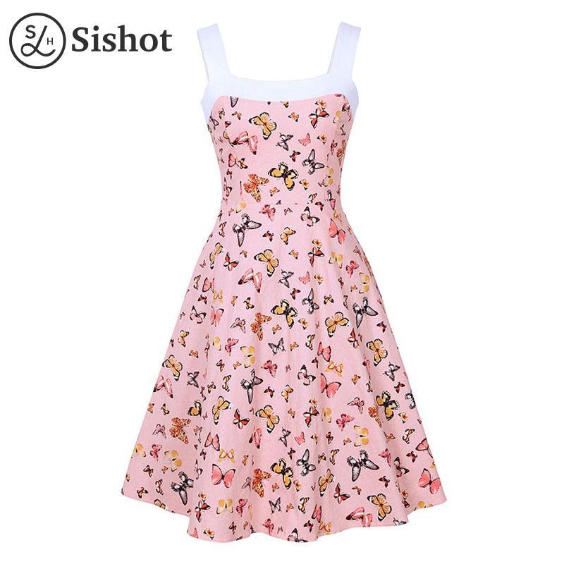 Compre Sishot Vestidos Vintage Mujer 2017 Verano Rosa Impreso Color ...