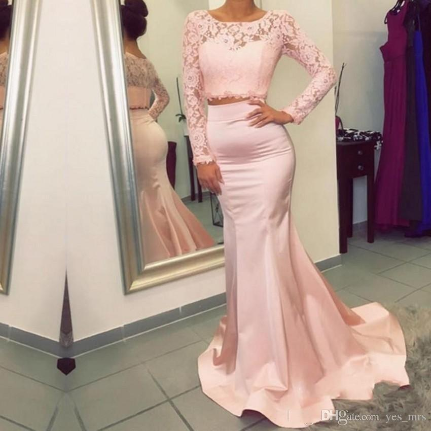 Evening Dresses 2017 Two Pieces Arabic Jewel Neck Illusion Lace Appliques Blush Pink Mermaid Long Sleeves Formal Party Dress Prom Gowns
