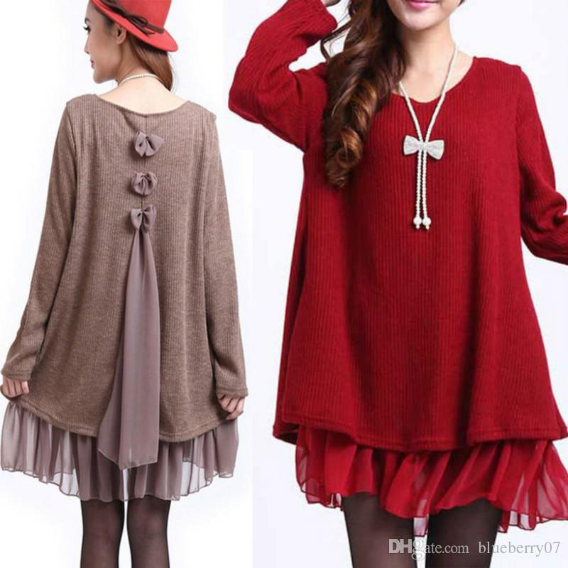 Fashion Women Bow Tie Ruffle Top Plus Size Splice Day Casual Sweater