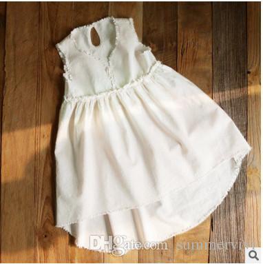 5df76ffd6f2f Girls Princess Dress Summer Kids Cotton front Short Back Long V-neck ...