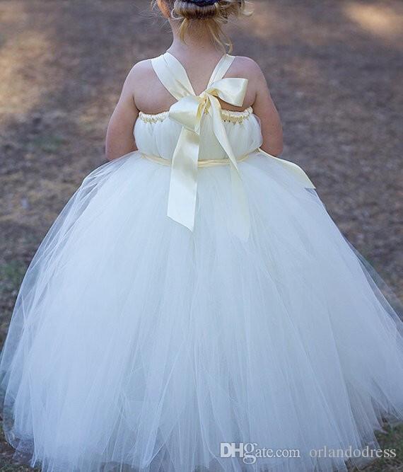 2017 Robe De Fille De Fleur Princesse Robe De Bal De Mariage Robe De Fête Communion Pageant Robe pour Petites Filles Enfants / Enfants Robe