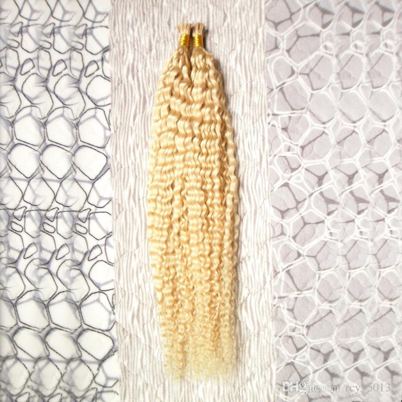 613 blonde brazilian hair 100g kinky curly remy human hair I Tip hair Extensions 100s #613 Bleach blonde
