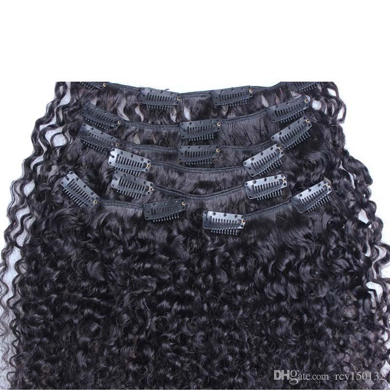 Clip in natural curly brazilian hair extensions 100g african american clip in human hair extensions