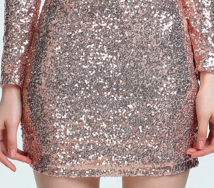 NEW Women Party Sequined Dresses Christmas Slash Neck Night Club Dress Clothes Bodycon Dress
