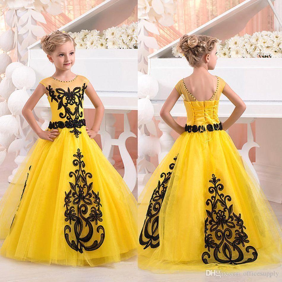Girls Pageant Gowns 2017 Bright Yellow Black Lace Junior Size 12 14 ...