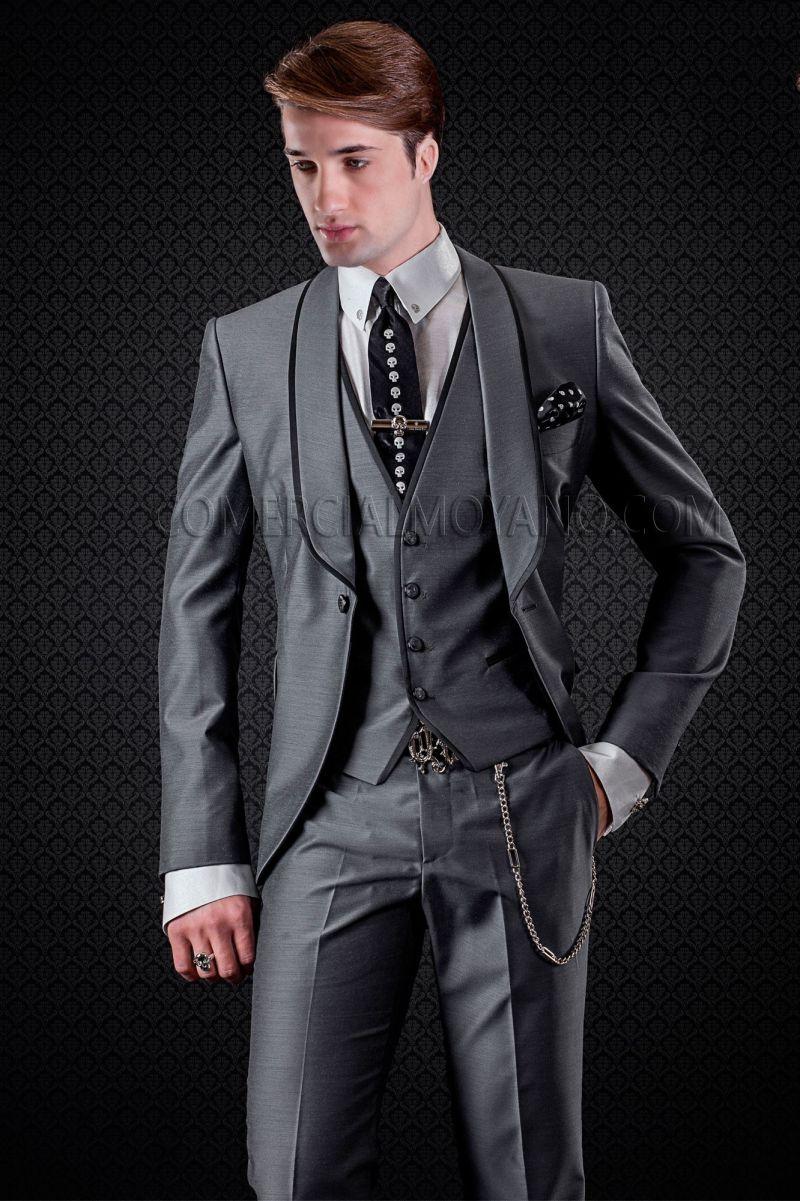 2017 Italian Grey Wedding Tuxedos Shawl Lapel With Black Strip Mens ...