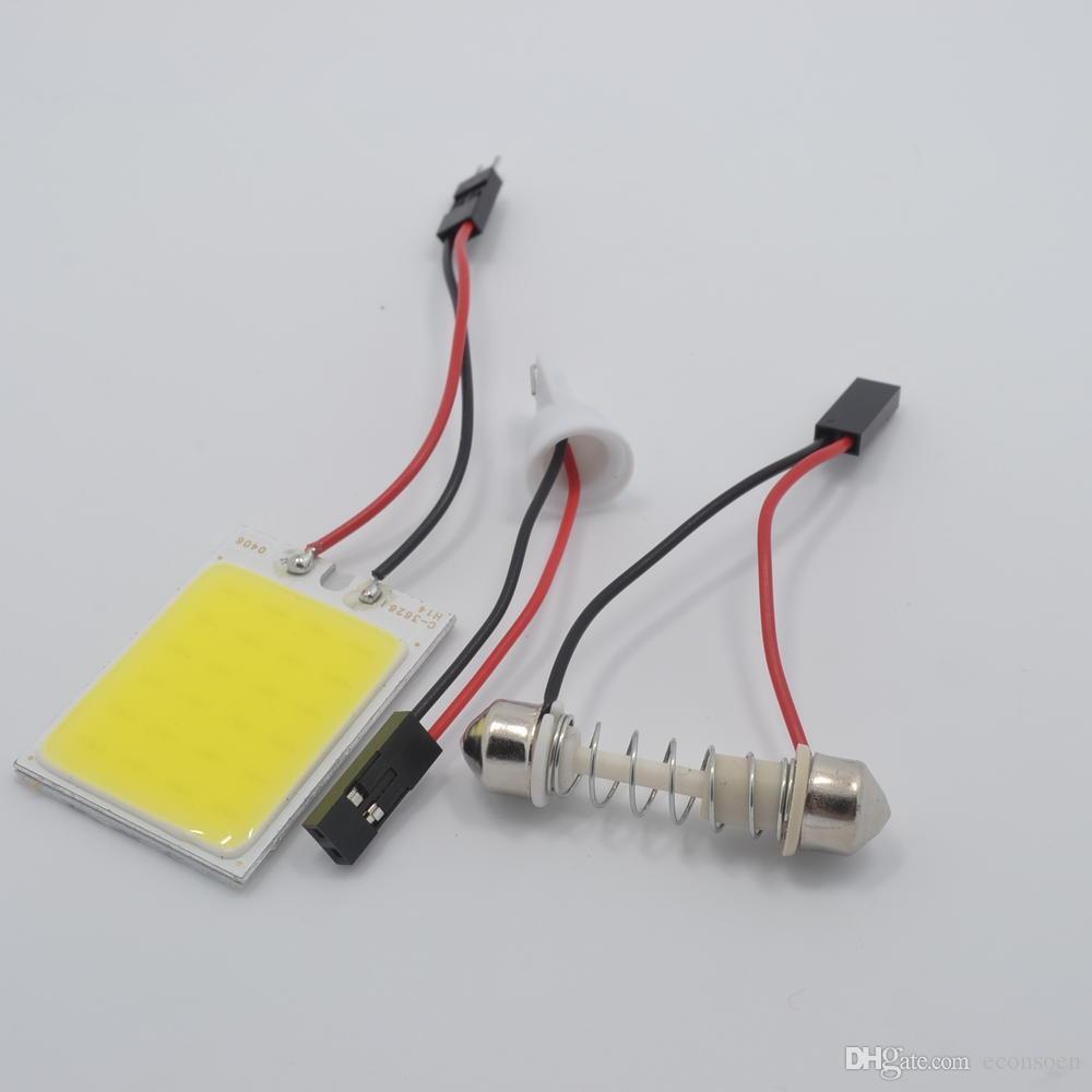 T10 / fisto 24led Smd Cob Led Panel Araba Oto İç Okuma Harita lambası Ampul Işık Kubbe Festoon T10 BA9s DC12V