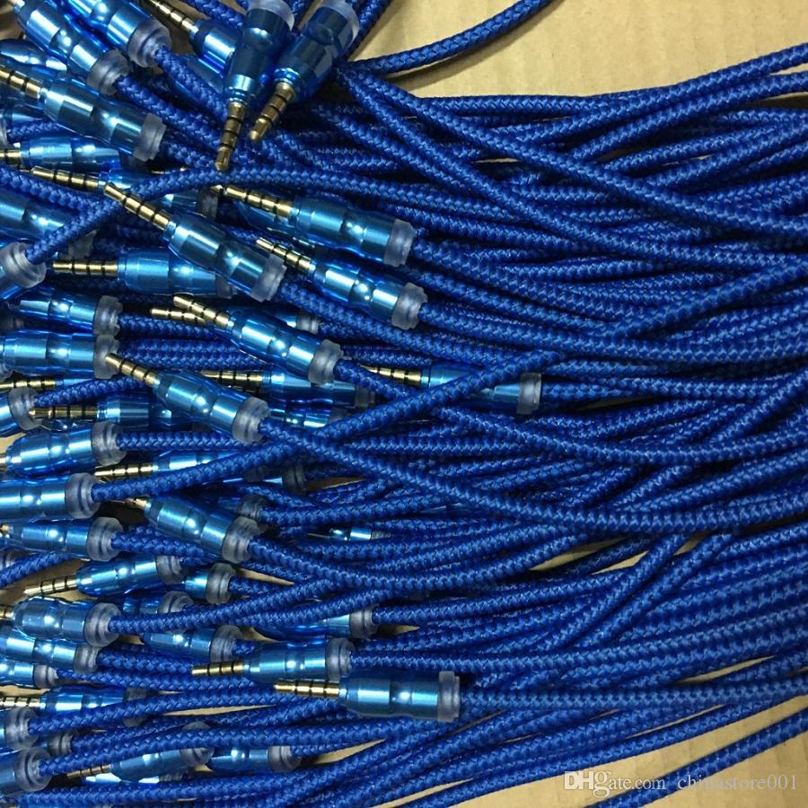 Extension audio de voiture Câble tresse Aux Câble ininterrompu connecteur métallique 1 M 3.5 MM mâle à mâle universel pour téléphones mobiles Tablet PC