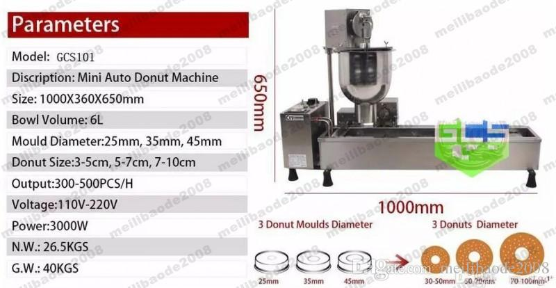 Commercial Full Automatic Donut Machine 110V 220 3000W Stainless Steel Donut Maker Come With 3 Mould MYY